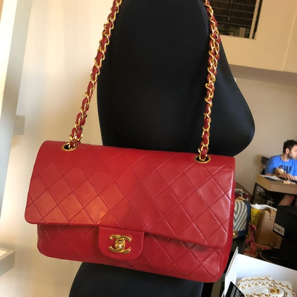 2aa03fc9355509 CHANEL Bags | Sold Auth Ml Red Lambskin Double Flap | Poshmark
